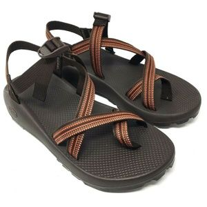 Chaco Z1 Brown Orange Striped Sandals Vibram